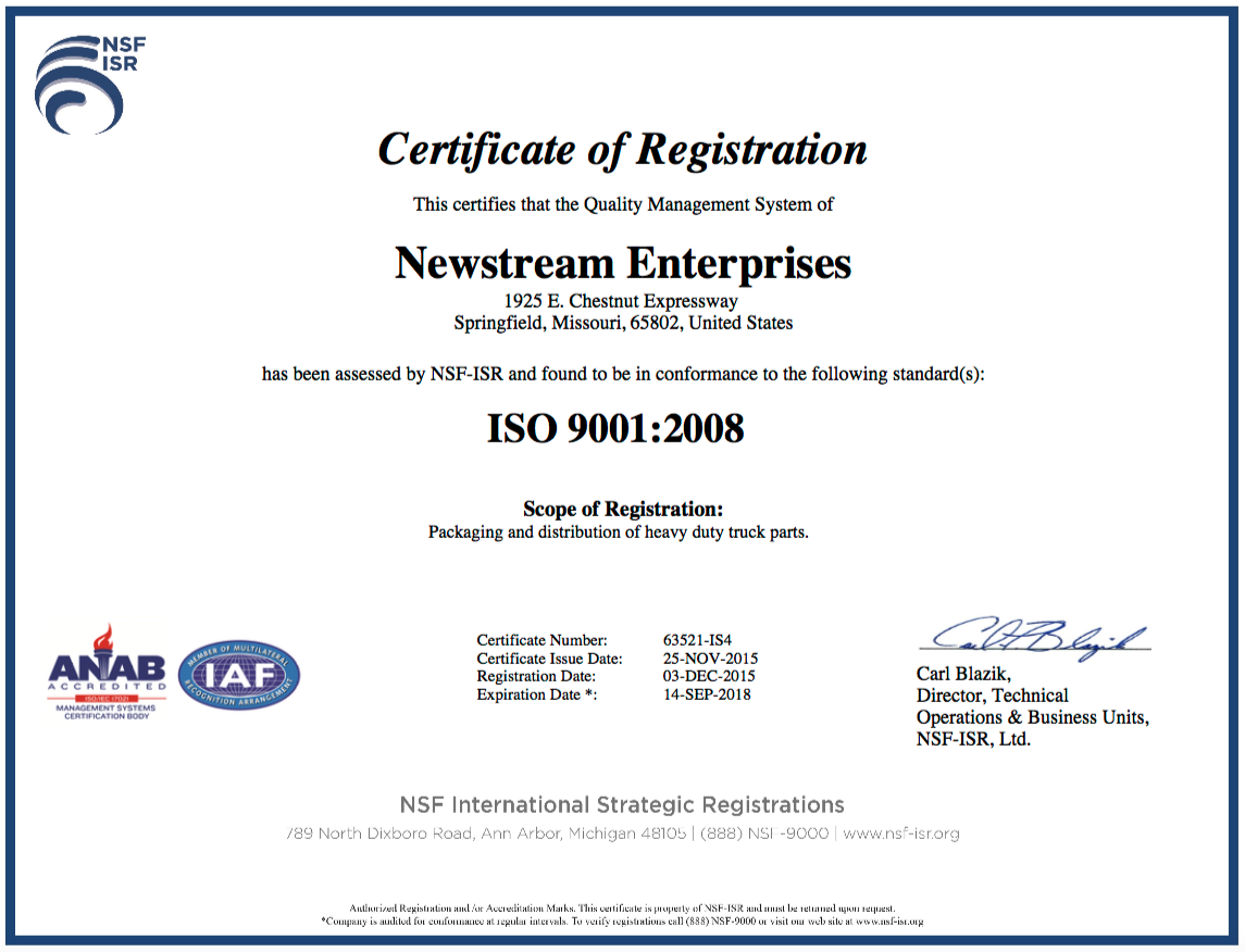 NewStream's ISO 9001 Quality Management System Certificate